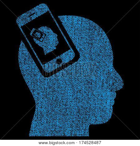 Smartphone Head Plugin Recursion vector textured icon for overlay watermark stamps. Fabric blue vectorized texture. Symbol with scratched design. Rubber seal stamp with fiber textile structure.