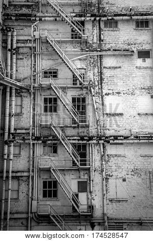 A fire escape on an old building in downtown El Paso Texas.