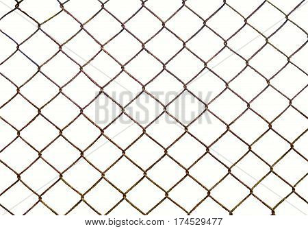 Metal wire fence isolated on white background