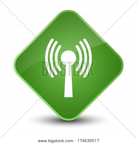 Wlan Network Icon Elegant Soft Green Diamond Button
