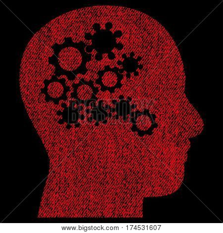 Human Mind Gears vector textured icon for overlay watermark stamps. Fabric red vectorized texture. Symbol with dirty design. Rubber seal stamp with fiber textile structure.