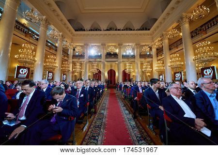 MOSCOW, RUSSIA - APR 23, 2016: Participants of 8th congress of A Just Russia political party in Union House column hall.
