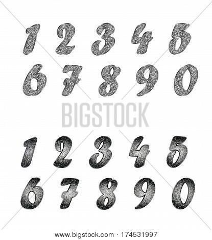 A standard set of numbers. Collection of silver, platinum, blackened silvery metal, glitter effect. Isolated on white. Horizontal.