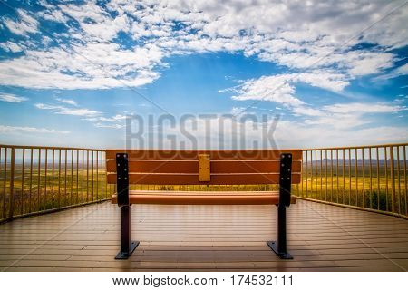A bench with a prairie view in South Dakota.