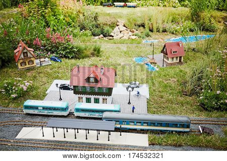 MOSCOW, RUSSIA - JUN 26, 2015: Layout of old railway station with rails, trains and buildings in Sokolniki park during festival Gardens and People.