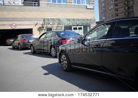 MOSCOW - APR 12, 2015: Automobiles drive the underground parking in a residential complex Elk Island
