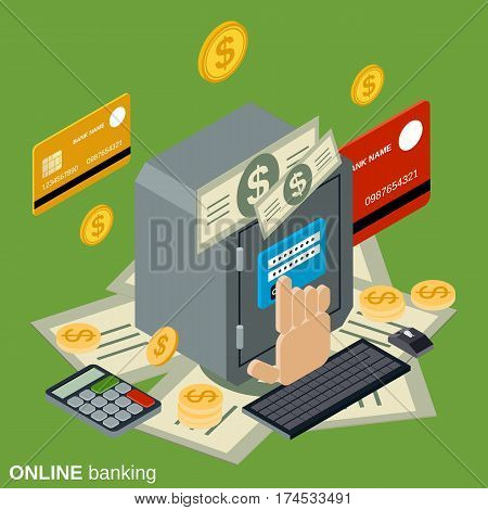 Online banking, deposit, financial security flat isometric vector concept