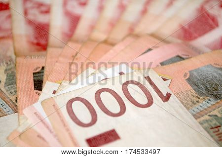 Serbian dinar money, banknotes of 1,000 dinars