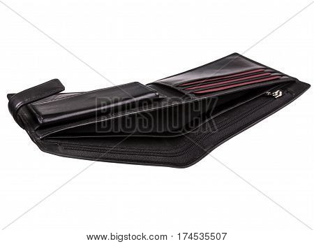 Open an empty men's wallet isolated on white background