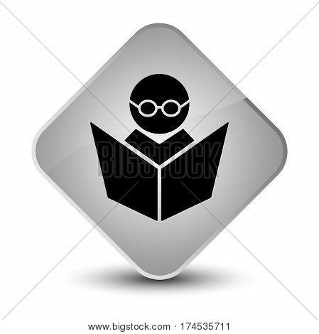 Elearning Icon Elegant White Diamond Button