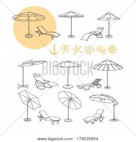 Vector set of umbrella, deck chair icons, sea symbols starfish, wheel, shell, crab and anchor black and yellow contour isolated on white background. Set objects furniture  for summer rest.