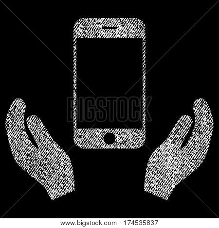Smartphone Care Hands vector textured icon for overlay watermark stamps. Fabric white vectorized texture. Symbol with scratched design. Rubber seal stamp with fiber textile structure.