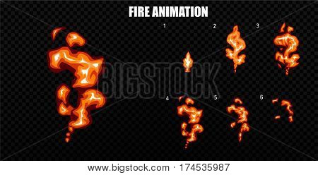 Explode effect animation with smoke. Cartoon explosion frames. Sprite sheet of explosion. Animation for game or cartoon.