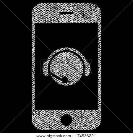 Smartphone Operator Contact Head vector textured icon for overlay watermark stamps. Fabric white vectorized texture. Symbol with dust design. Rubber seal stamp with fiber textile structure.