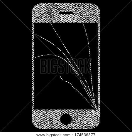 Smartphone Screen Cracks vector textured icon for overlay watermark stamps. Fabric white vectorized texture. Symbol with unclean design. Rubber seal stamp with fiber textile structure.