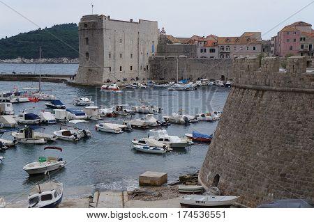 DUBROVNIK, CROATIA - OCTOBER 18, 2016: Fort St John (Sv Ivana) in old city of Dubrovnik in gloomy evening