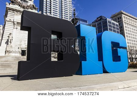 Indianapolis - Circa March 2017: Big Ten Conference logo also stylized as the Big 10 or B1G in Downtown Indianapolis I