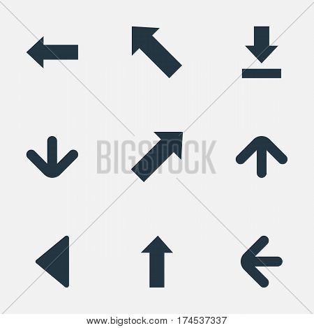 Set Of 9 Simple Pointer Icons. Can Be Found Such Elements As Left Direction, Let Down, Pointer And Other.