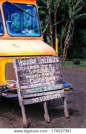 Local Food Truck's Wood Sign: Kauai Food Truck Hawaiian Time Hours