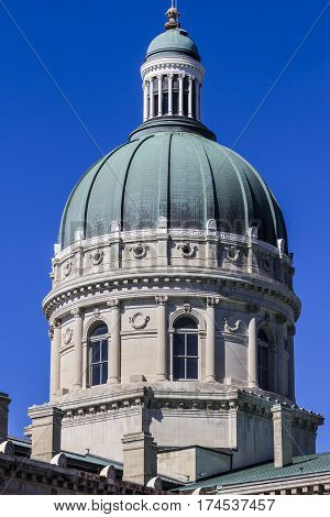 Indianapolis - Circa March 2017: Indiana State House and Capitol Dome. It houses the Governor, Assembly, and Supreme Court II