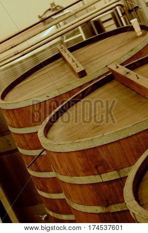 Wood wine barrel in Napa Valley, California, United States of America
