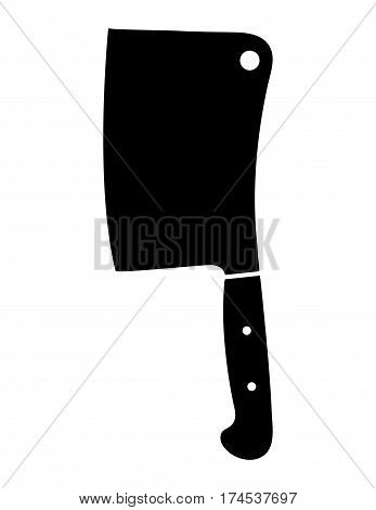 Black and white filled in butcher knife illustration
