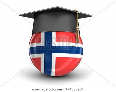 3D Illustration. Graduation cap and Norwegian flag. Image with clipping path
