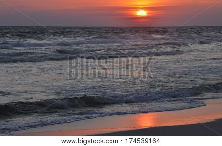 Sunset over Gulf of Mexico in Alabama