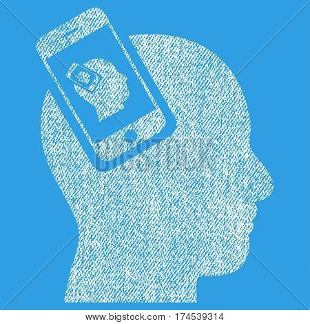 Smartphone Head Plugin Recursion vector textured icon for overlay watermark stamps. Fabric white vectorized texture. Symbol with scratched design. Rubber seal stamp with fiber textile structure.