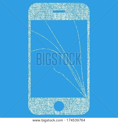 Smartphone Screen Cracks vector textured icon for overlay watermark stamps. Fabric white vectorized texture. Symbol with dirty design. Rubber seal stamp with fiber textile structure.