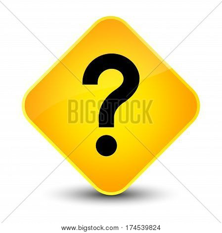 Question Mark Icon Elegant Yellow Diamond Button
