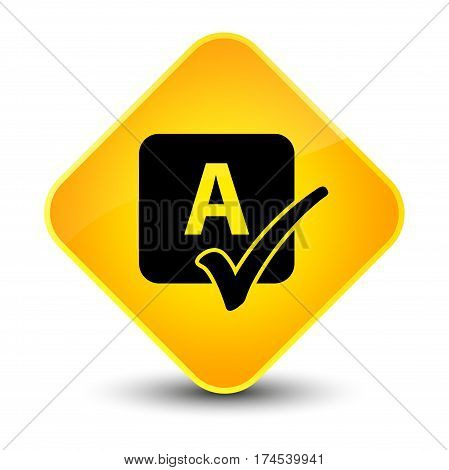 Spell Check Icon Elegant Yellow Diamond Button