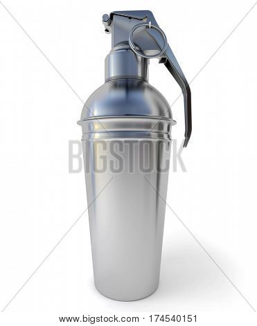 3D rendering of a cocktail shaker with a hand grenade mechanism