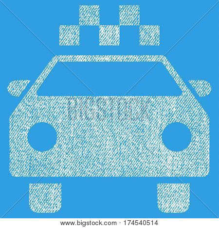 Taxi Automobile vector textured icon for overlay watermark stamps. Fabric white vectorized texture. Symbol with dirty design. Rubber seal stamp with fiber textile structure.