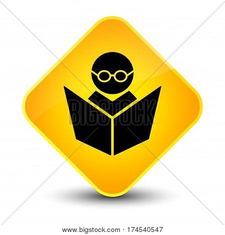 Elearning Icon Elegant Yellow Diamond Button