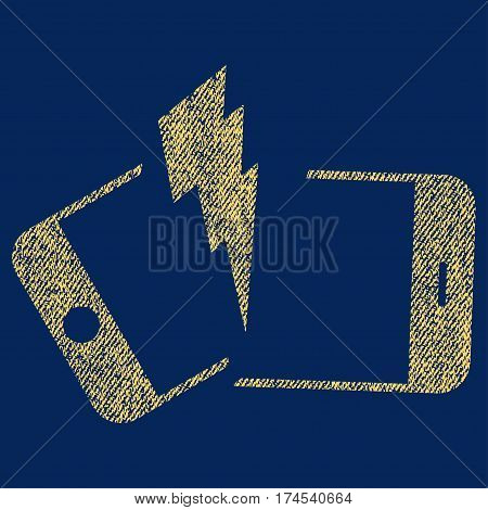 Broken Smartphone vector textured icon for overlay watermark stamps. Fabric yellow vectorized texture. Symbol with unclean design. Rubber seal stamp with fiber textile structure.