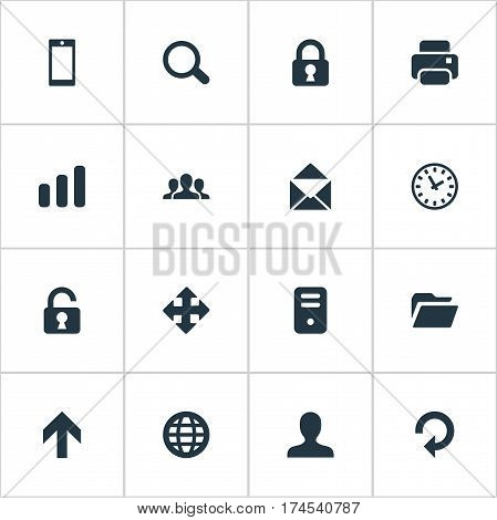 Set Of 16 Simple Apps Icons. Can Be Found Such Elements As Smartphone, Dossier, Printout And Other.