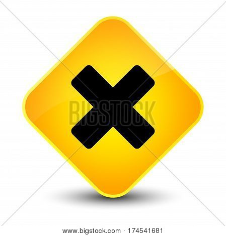 Cancel Icon Elegant Yellow Diamond Button