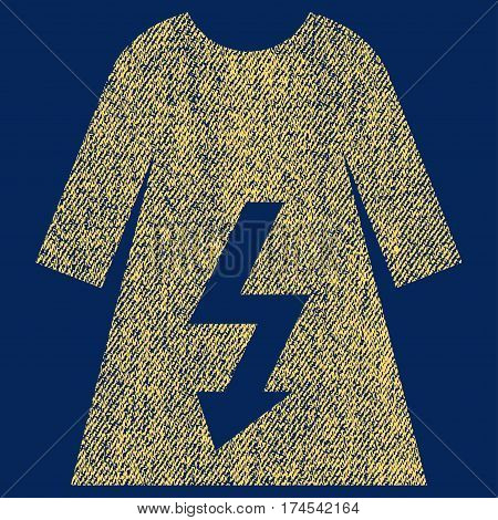 Electric Woman Dress vector textured icon for overlay watermark stamps. Fabric yellow vectorized texture. Symbol with dirty design. Rubber seal stamp with fiber textile structure.