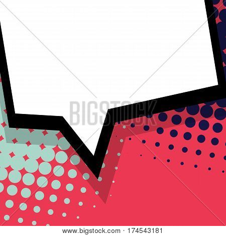 For sale banner. Abstract creative hand drawn vector colored blank bubble. Comic speech balloon on halftone dot background pop art style. Comic book text dialog empty cloud.