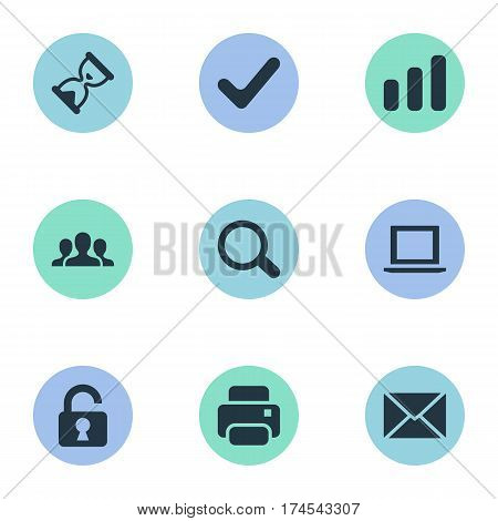 Set Of 9 Simple Practice Icons. Can Be Found Such Elements As Community, Printout, Magnifier And Other.