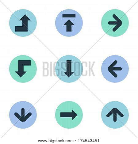 Set Of 9 Simple Cursor Icons. Can Be Found Such Elements As Upward Direction, Left Direction, Downwards Pointing And Other.