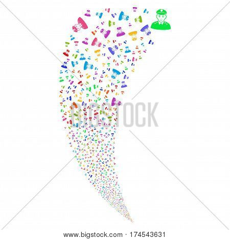 Army General random fireworks stream. Vector illustration style is flat bright multicolored iconic symbols on a white background. Object fountain combined from scattered design elements.