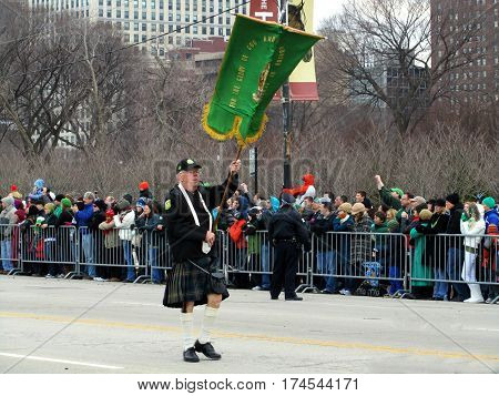 Flag Bearer Chicago Saint Patricks Day Parade March 12th, 2011