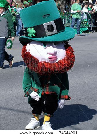 leprechaun costume at Chicago's South Side Irish Saint Patricks Day Parade March 11th, 2012