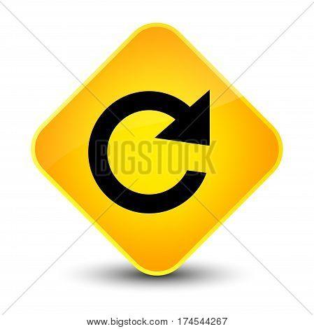 Reply Rotate Icon Elegant Yellow Diamond Button
