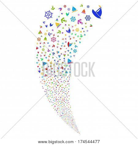 Boat Sailing random fireworks stream. Vector illustration style is flat bright multicolored iconic symbols on a white background. Object fountain organized from scattered icons.