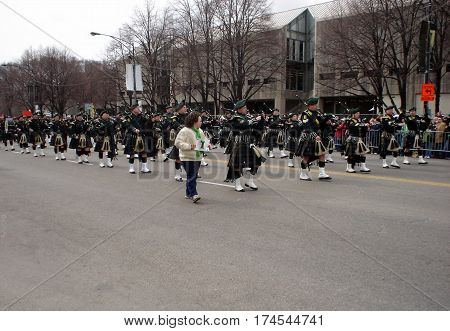Irish bagpipers playing during the St. Patrick's Day Parade in Chicago, IL, March 15, 2008