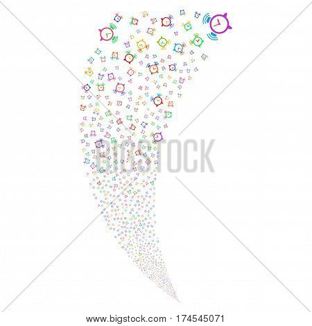 Buzzer random fireworks stream. Vector illustration style is flat bright multicolored iconic symbols on a white background. Object fountain organized from scattered design elements.