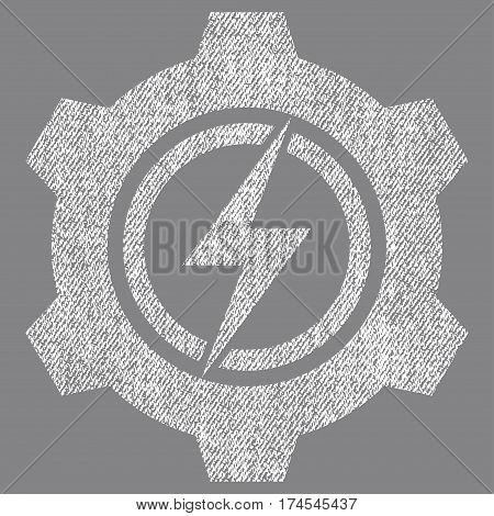 Electric Cogwheel vector textured icon for overlay watermark stamps. Fabric white vectorized texture. Symbol with scratched design. Rubber seal stamp with fiber textile structure.